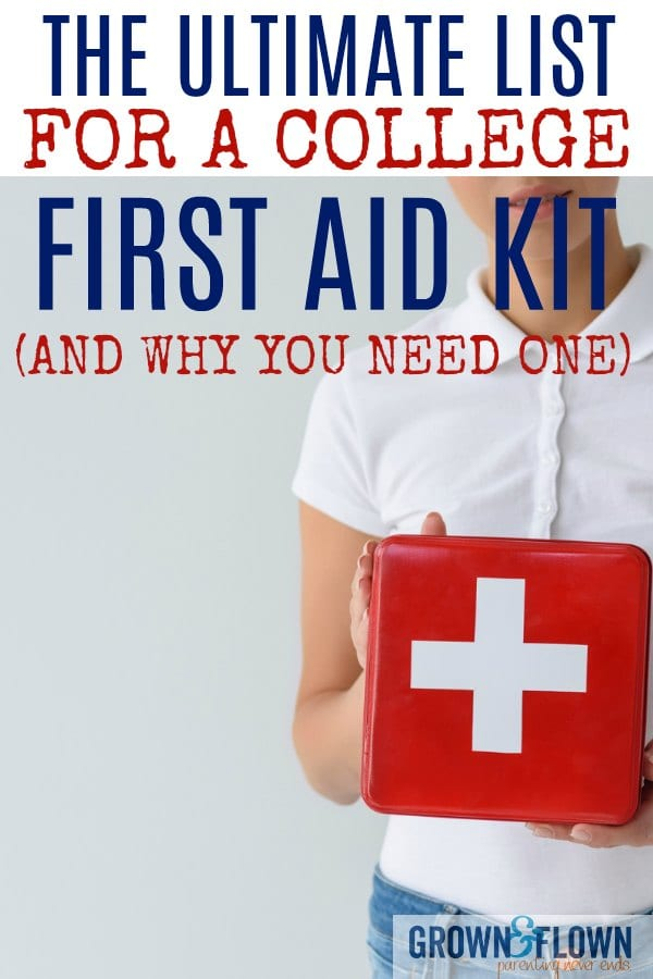 You may not think of a college first aid kit as something you need on your college packing list, but here's a great post with all the things your college student needs in that kit as well as why it's a smart idea to have one. #collegelife #collegestudent #firstaidkit #collegekids #dormlife
