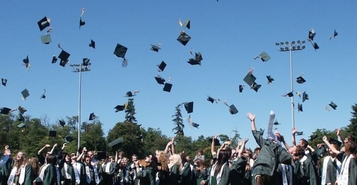 Grads and hat toss