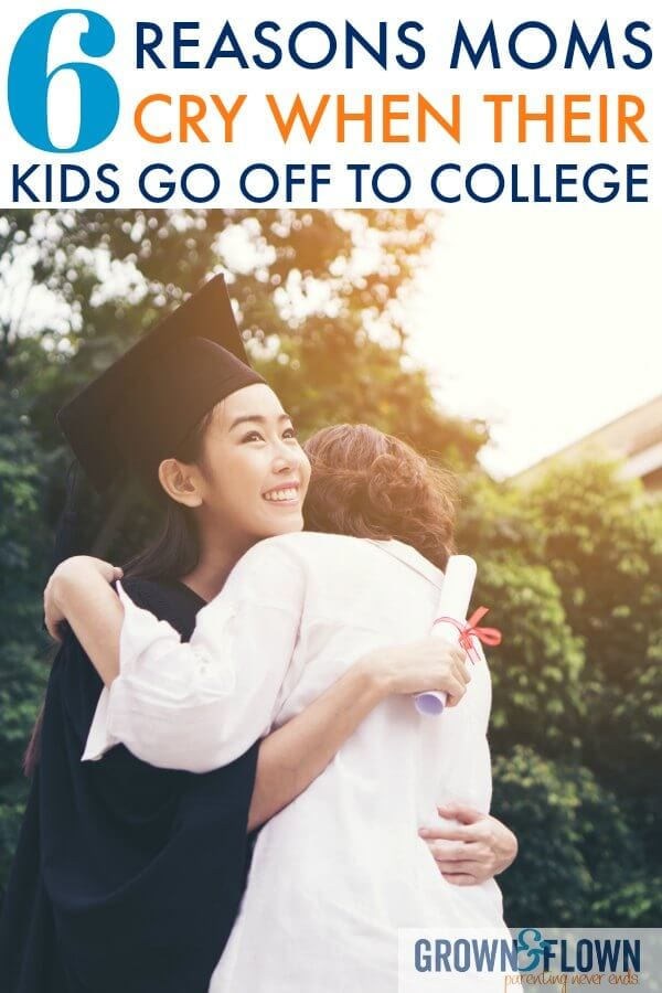 Dropping your child off at college is an emotional time for both the parent and the child. But, here's a real look at why moms cry when they leave their kids at college. You'll be inspired by this post about kids leaving the nest. #parenting #parenthood #collegelife #college #graduation #motherhood #emptynest #grownandflown