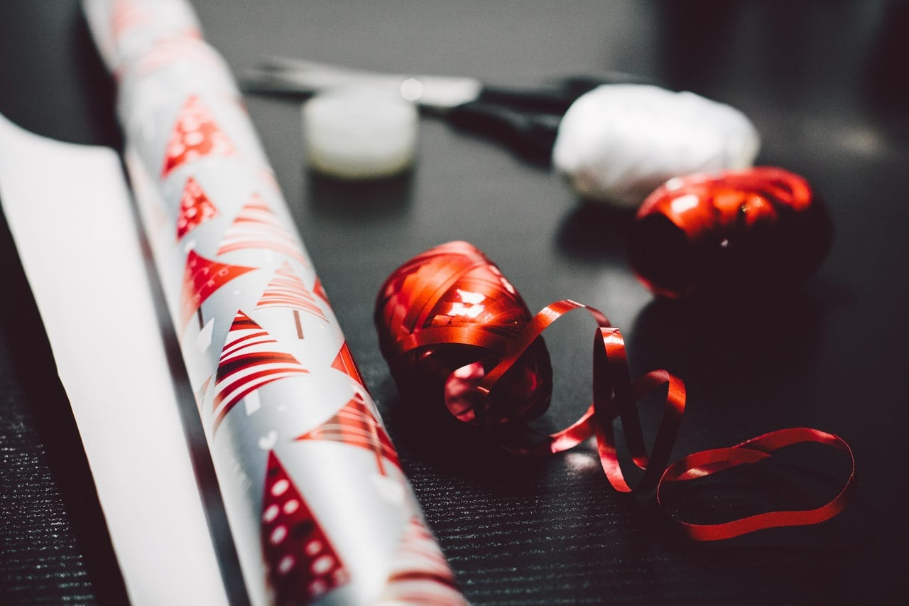 Christmas ribbon and papers