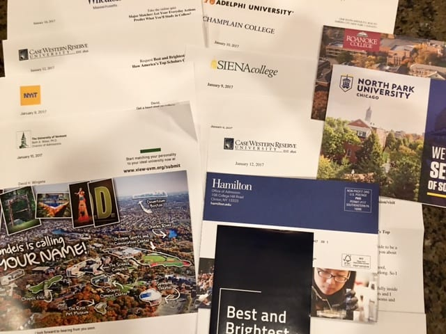 Colleges send out literature to prospective students