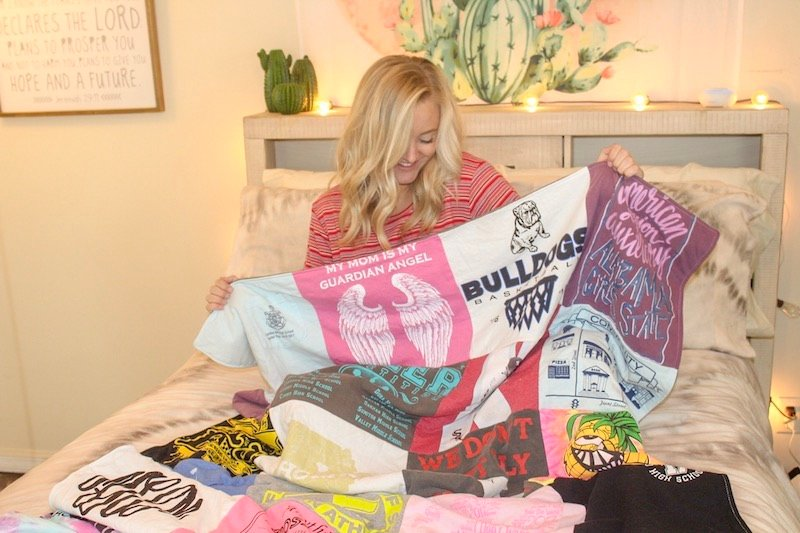 Project repat T-shirt quilt and teen girl