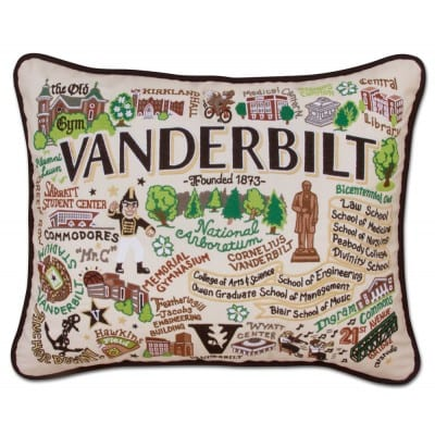 embroidered college pillow