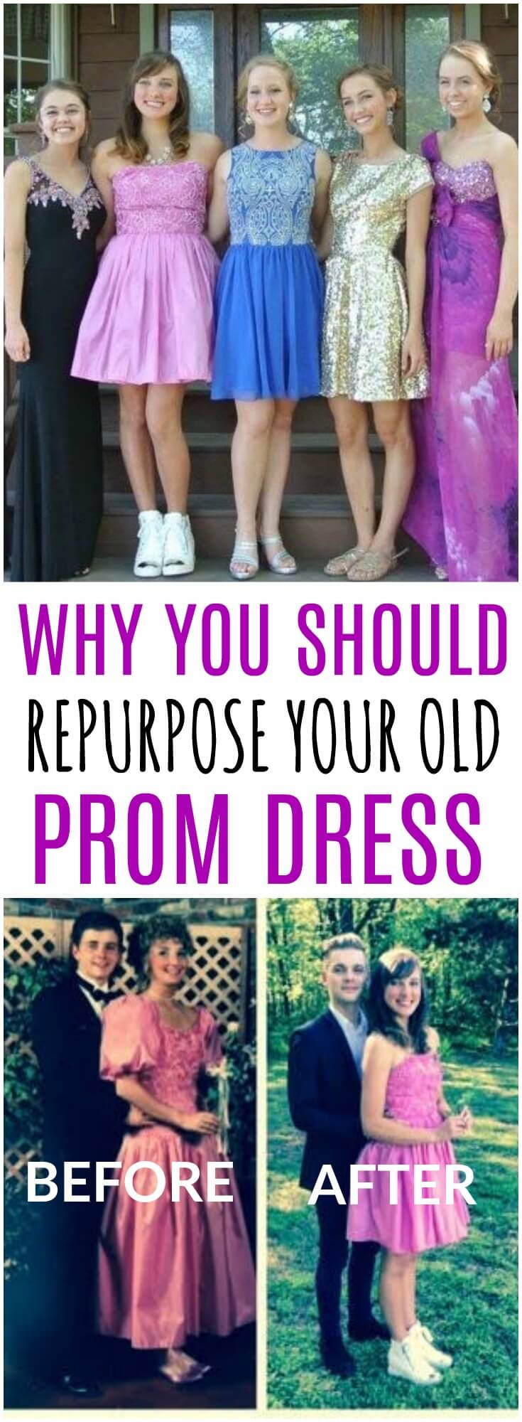 Looking for the perfect prom dress can be tough. That's why this mom took her old prom dress and turned it into something brand new for her daughter. What a special way to celebrate a fun night and save money on prom too! #prom #promnight #promdress #promdressideas #promdresses #highschool #teens #teenagers #vintageprom