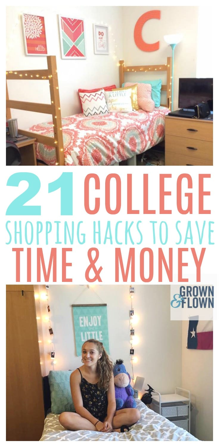 When it's time to take your teen shopping for college supplies, it's important that you use these college hacks and tips to save time and money and make it an enjoyable experience for you and your teen. #college #collegetips #collegehacks #hacks #collegetricks #collegelife #collegedorm #dorm #dormlife #collegeprep