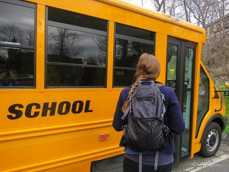 Seeing a school bus reminds this mom of when her college daughter was much younger.