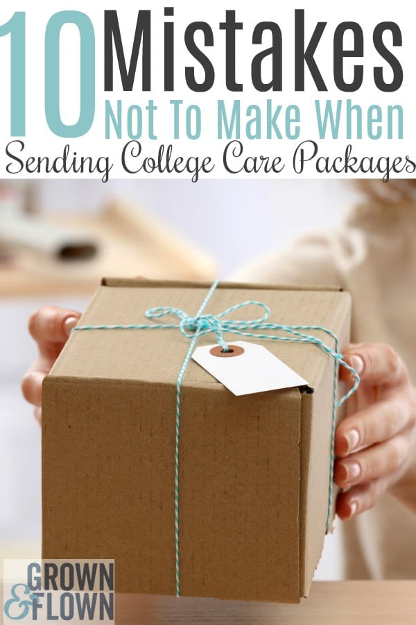 It's fun to send college care packages to your teen or young adult, but there are some dos and don'ts to make it a care package they'll love. Make sure not to make these 10 mistakes. #carepackageideas #carepackages #grownandflown #emptynest #collegelife #collegekids #college