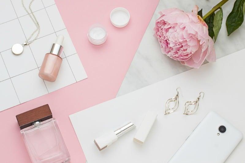 pink flat lay