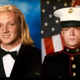 Teen at graduation and as a Marine