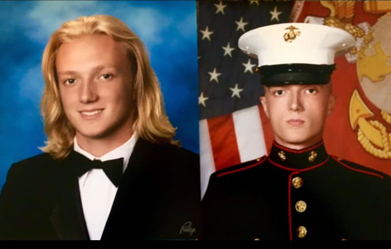 Teen at graduation and as a Marine