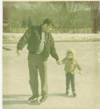 Father and daughter skating