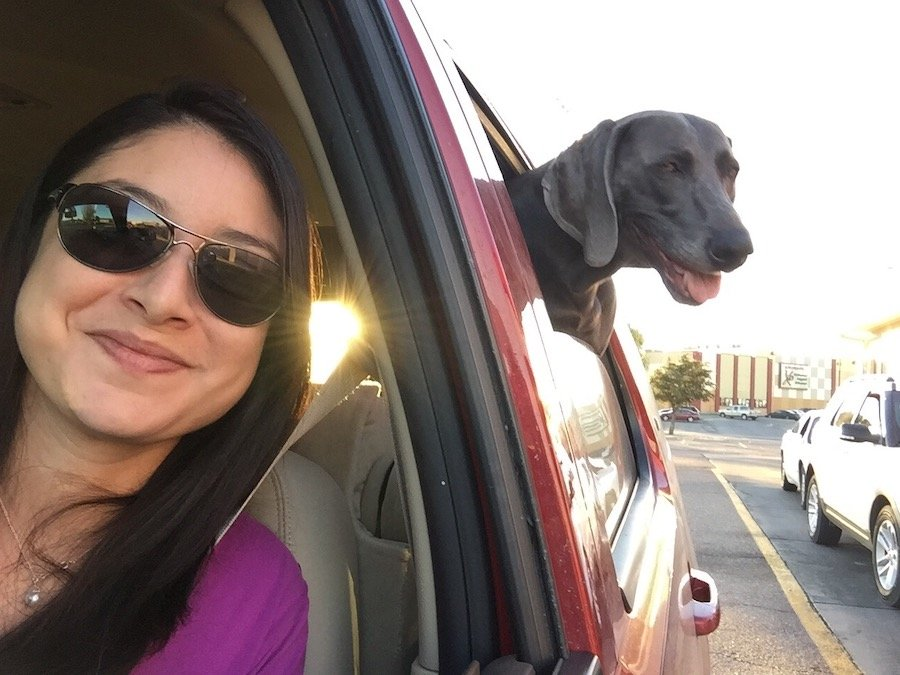 mom and dog in car