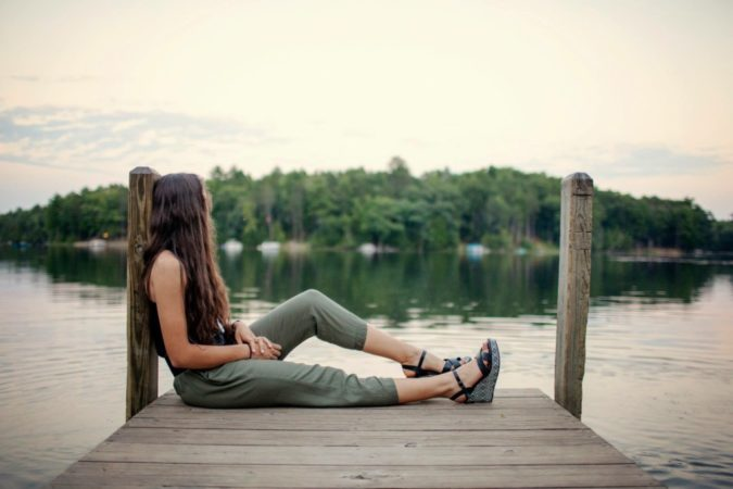 teen girl on dock