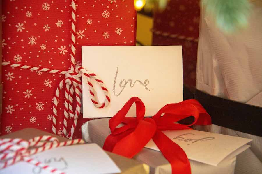 Christmas packages with love card