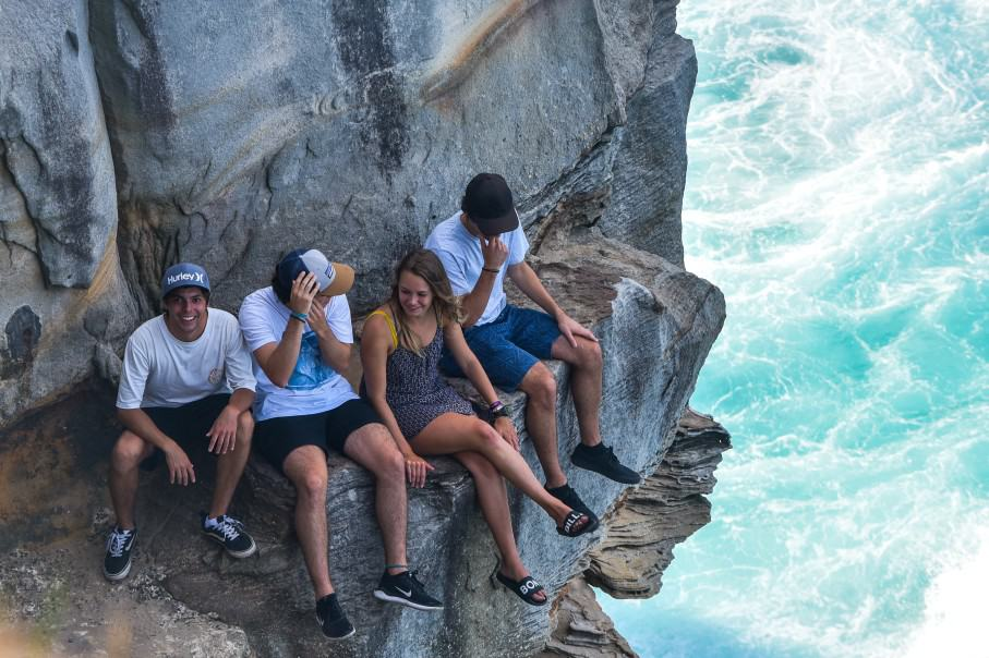 group of 20 year olds on a cliff