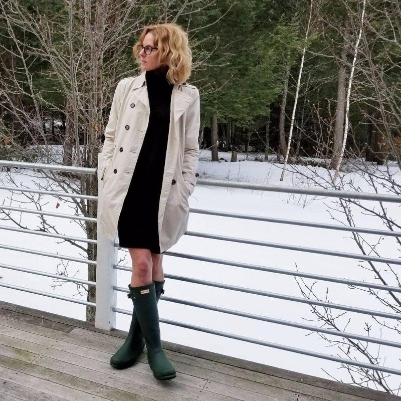 woman in coat in snow