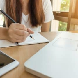 teen girl writing