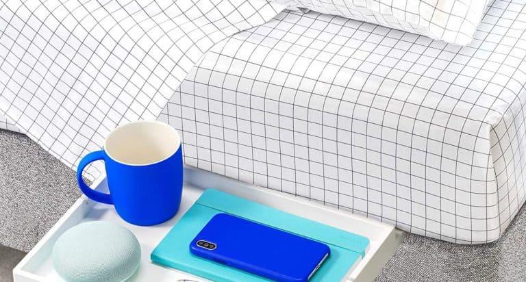 dorm bed shelf with blue mug