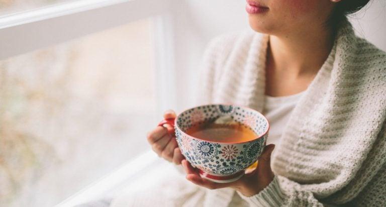 mom drinking tea