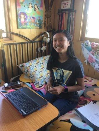 teen using a rolling desk