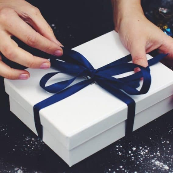 package with blue ribbon