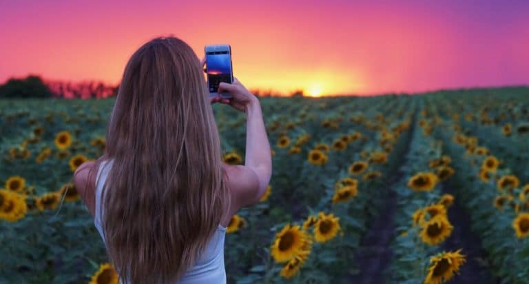 taking photos at sunset