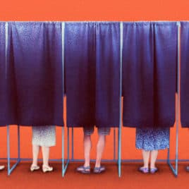 feet in voting booth