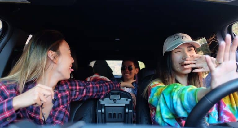 college women on a road trip
