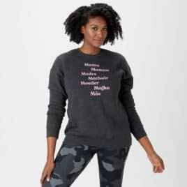 Black woman wearing sweater with words for mom