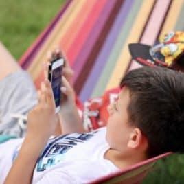 teen boy in hammock