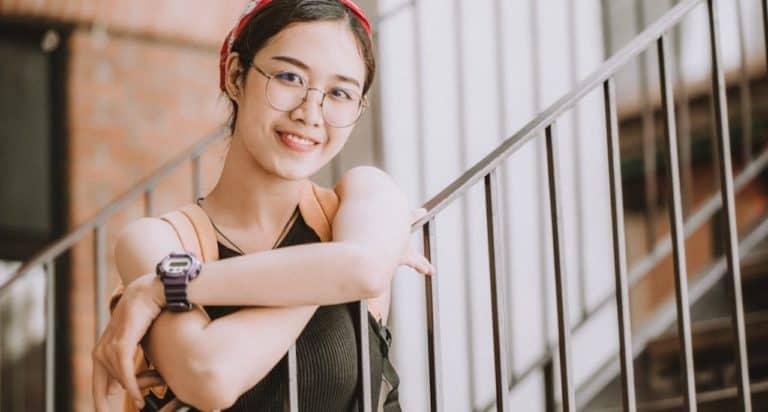 happy female Asian teen