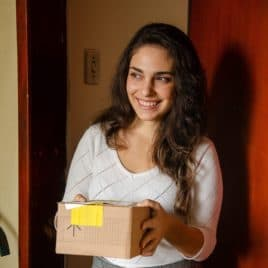 college girl with gift